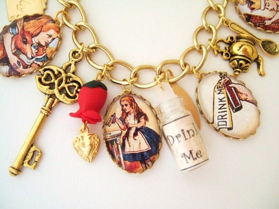 Alice in Wonderland Charm Bracelet -Altered Art Bracelet