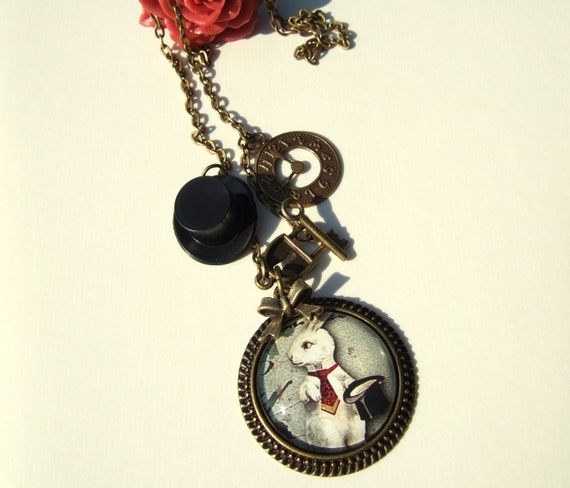 Steampunk Necklace-White Rabbit Cameo-Altered Art Charm Necklace