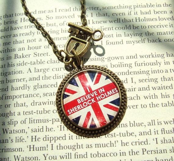 Sherlock Necklace I Believe in Sherlock Holmes Sherlock Holmes Necklace