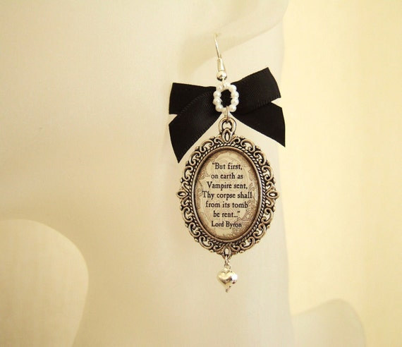 Gothic Earrings Lord Byron Earrings Literary Quote Earrings Cameo Earrings