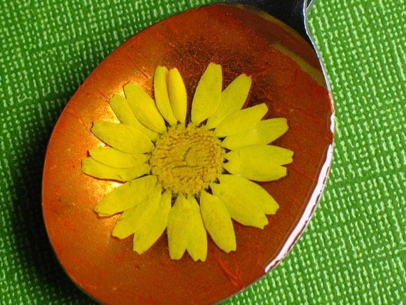 Recycled Spoon Pendant: Yellow Pressed Flower Orange Iridescent eco friendly silverware necklace