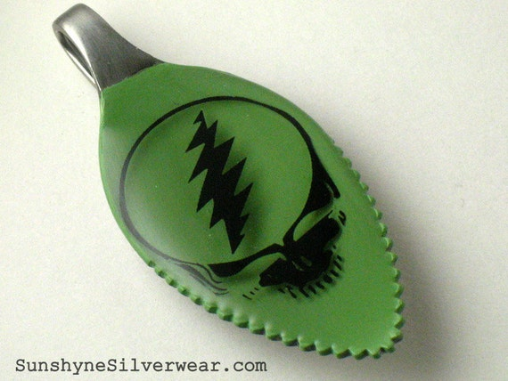 Steal Your Face: Recycled Spoon Pendant (as seen on tour) eco friendly silverware necklace, ooak