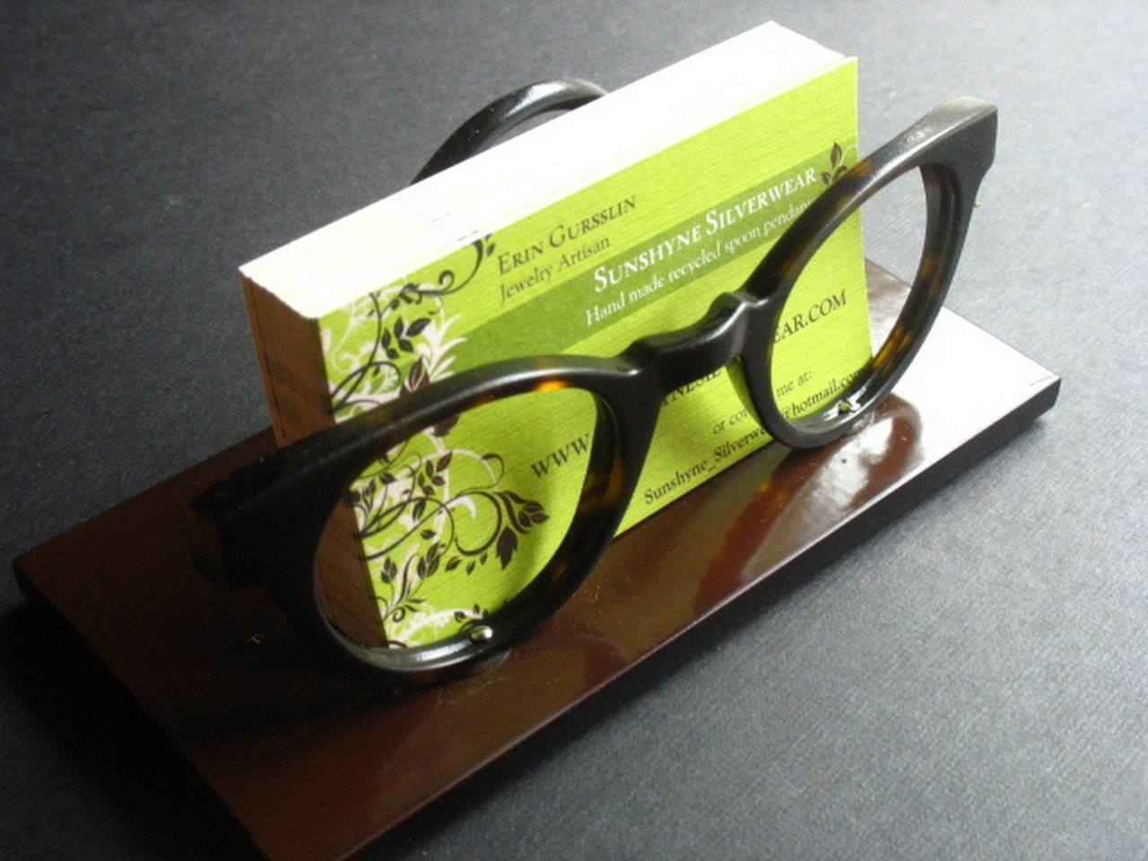 Business card holder made from vintage glasses frames eco for Creative business card holders