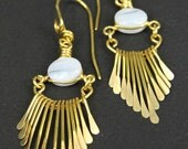 Artisan Handcrafted Golden Brass Fringe - in Blue Lace Agate Gemstone Earrings