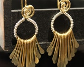 Artisan Handcrafted Golden Brass Fringe and Silver Wire Wrapped earrings