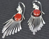 Artisan Handcrafted Sterling Silver Fringe Earrings - set with red agate gems