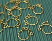 6 pcs - Brass Fancy Connector Ring - handmade - 13 x 16mm