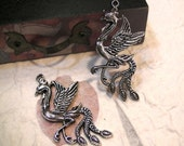 10 pcs - Pheonix Pendants - Antique Silver Plated - 28mm x 58mm