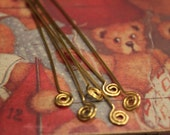 12 pcs - Extra Long Spiral Headpins - Brass - handmade