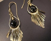 Artisan Handcrafted Golden Brass Fringe - in Black Onyx Gemstone Earrings