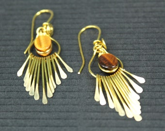 Artisan Handcrafted Golden Brass Fringe - in Tigers Eye Gemstone Earrings