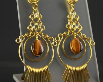 Artisan Handcrafted Golden Brass Fringe - in Tigers Eye Gemstone Earrings