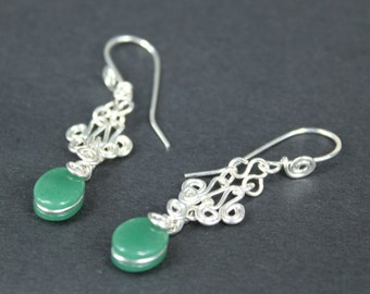 Artisan Handcrafted Sterling Silver Filigree Earrings - set with green adventurine jade gems