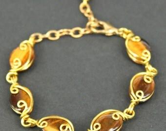 Golden Tigers Eye Gems Brass Wire Bracelet