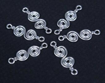 6 pcs - S Shape Sterling Silver Swirl Connectors - handmade