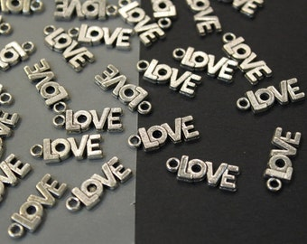 4 pcs - LOVE  Silver Plated Charm Pendants - 22mm x 8mm
