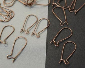 20 pcs - Antique Copper Long Kidney Earwires - 11.5mm x 26mm - Nickel Free