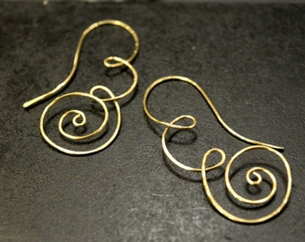 1 Pair - Artisan Handmade Swirls and Curls Earwires - Golden Brass and Wire