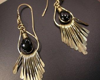 Artisan Handcrafted Golden Brass Fringe - in Black Onyx Gemstone Earrings