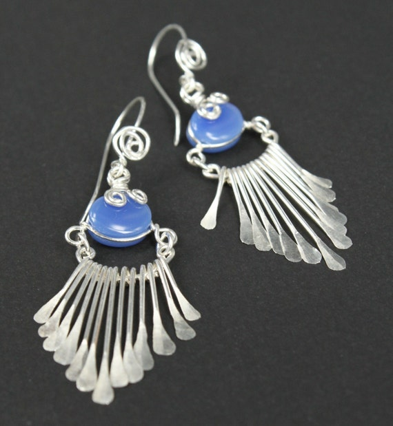 Artisan Handcrafted Sterling Silver Fringe Earrings - set with blue agate gems