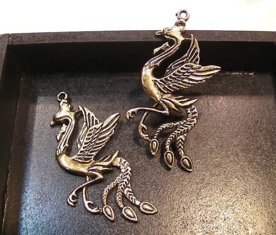 2 pcs - Pheonix Pendants - Antique Brass - 28mm x 58mm