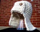 Thick Earflap Hat with Wood Buttons