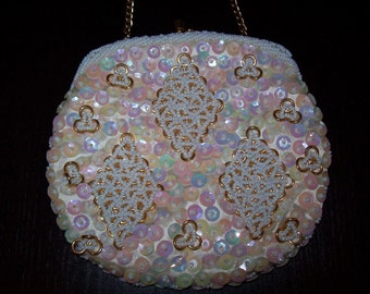 Vintage Evening Purse Beaded w/ Sequence and Gold  Chain Handle