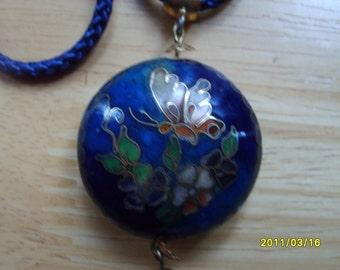 Cloisonne Puff Pendant, Blue Accessories, Blue Cloisonne Necklace,Cloisonne Puff Pendant, Enamel Jewelry, Blue Fashion Pendant