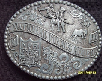 Rodeo Buckle,  National Finals Rodeo 1988, Western Buckle, Belt Buckle, Cowboy Buckle