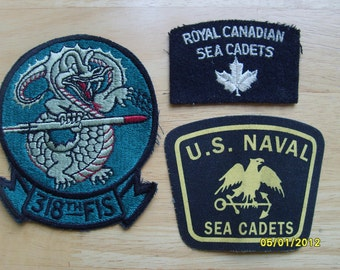Military Fabric Patches (3) McChord AFB, U.S. Naval Sea Cadets, Royal Canadian Sea Cadets