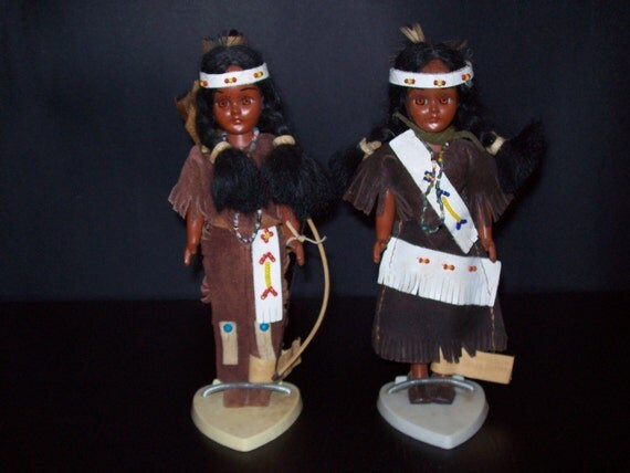 Vintage Ogalala Dolls, Soux Indian, Collectible Dolls, Pair of Oglala Sioux Indian Dolls Collectible Toys (2 dolls)