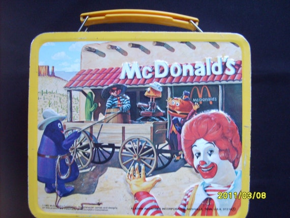 1982 Mcdonalds Metal Lunch Box Vintage Aladdin Metal Lunchbox