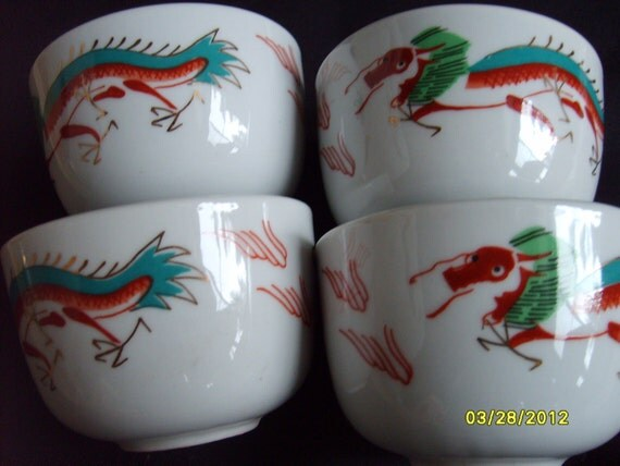 Vintage Chinese Tea Cups Dragon (set of 4)
