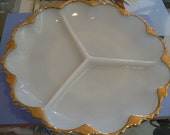 Vintage Fire King Milk Glass White Scalloped Relish Serving Dish 24k Gold Trim