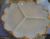 Vintage Fire King Milk Glass White Scalloped Relish Serving Dish 24k Gold Trim
