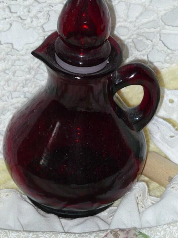 Vintage Red Glass Avon Bottle Strawberry Top