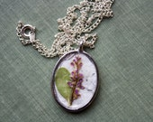 Delicate Purple Flower Pendant - Real Botanical Jewelry with Handmade Paper
