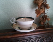 rose scented soy candle in a pretty vintage teacup