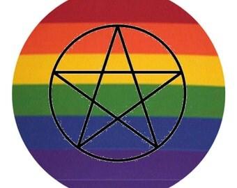 Rainbow Pentagram Button