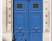blue door with bicycle . . . 5x7 fine art paris photograph photo by lesley sico