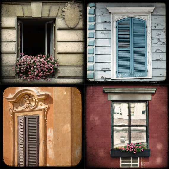 "set of four 5x5 fine art photographs /// ""windows of the world"" /// photos by lesley sico"