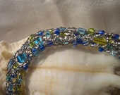 Blue, green and silver, hypoallergenic, sparkling necklace, ocean colours, antique silver lame yarn, made in Canada, soft and light weight