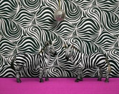 2 for 1 SALE - disco zebra art print, funky retro 1970s, black and white: 1970s Camouflage