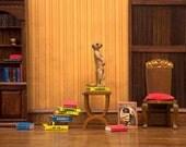 2 for 1 SALE - meerkat art print, dollhouse diorama, bookworm, library, den: Meerkat Den