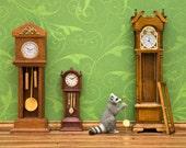 Woodland animal diorama art print, steampunk decor, raccoon, forest green: Clockwork