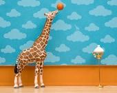 giraffe art print, basketball, kids room decor: Standing Tall