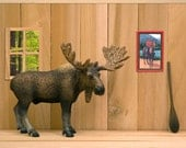 2 for 1 SALE - moose art print, rustic woodland cabin, mountie, Canadian kitsch: Cabin Fever