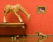 Giraffe and lizard art, miniature animal diorama print: Jumpin' Giraffes