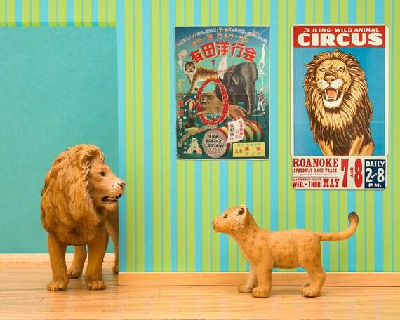 2 for 1 SALE - lion art print, vintage circus posters, bright kids room decor: Lionized