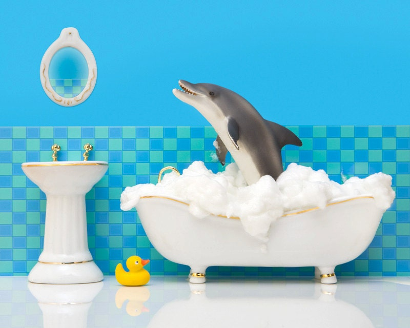Bathroom decor dolphin art kids bathroom decor by for Dolphin bathroom design